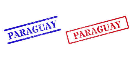 Grunge PARAGUAY stamp seals in red and blue colors. Seals have draft style. Vector rubber imitations with PARAGUAY badge inside rectangle frame, or parallel lines. Design style uses grunge effect.