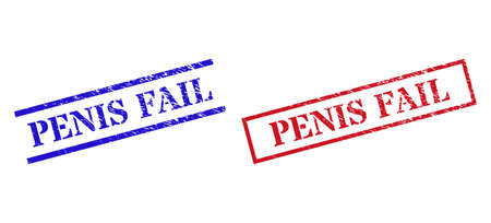 Grunge PENIS FAIL stamp seals in red and blue colors. Seals have rubber style. Vector rubber imitations with PENIS FAIL caption inside rectangle frame, or parallel lines.