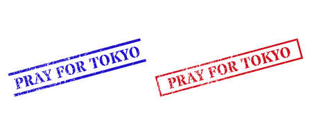Grunge PRAY FOR TOKYO rubber stamps in red and blue colors. Seals have rubber style. Vector rubber imitations with PRAY FOR TOKYO tag inside rectangle frame, or parallel lines.