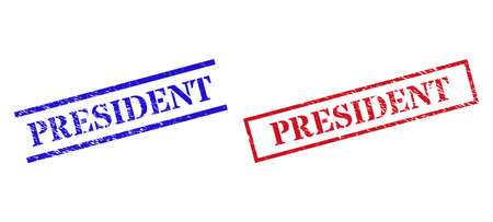 Grunge PRESIDENT seal stamps in red and blue colors. Stamps have rubber texture. Vector rubber imitations with PRESIDENT badge inside rectangle frame, or parallel lines.