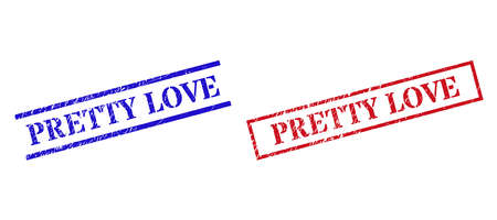 Grunge PRETTY LOVE rubber stamps in red and blue colors. Stamps have rubber style. Vector rubber imitations with PRETTY LOVE badge inside rectangle frame, or parallel lines.