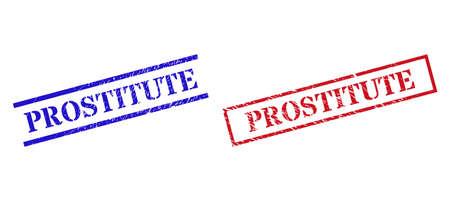 Grunge PROSTITUTE seal stamps in red and blue colors. Stamps have draft style. Vector rubber imitations with PROSTITUTE phrase inside rectangle frame, or parallel lines.