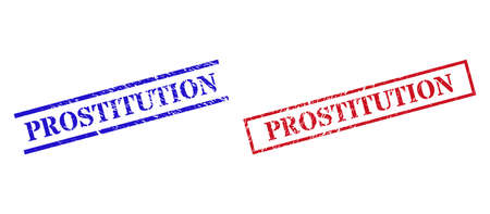 Grunge PROSTITUTION rubber stamps in red and blue colors. Seals have distress style. Vector rubber imitations with PROSTITUTION tag inside rectangle frame, or parallel lines.
