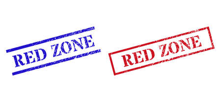 Grunge RED ZONE stamp seals in red and blue colors. Seals have draft texture. Vector rubber imitations with RED ZONE badge inside rectangle frame, or parallel lines.