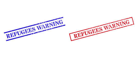 Grunge REFUGEES WARNING seal stamps in red and blue colors. Stamps have rubber style. Vector rubber imitations with REFUGEES WARNING tag inside rectangle frame, or parallel lines.