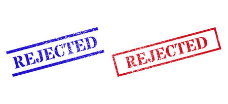 Grunge REJECTED stamp watermarks in red and blue colors. Stamps have rubber style. Vector rubber imitations with REJECTED badge inside rectangle frame, or parallel lines.