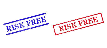 Grunge RISK FREE rubber stamps in red and blue colors. Seals have rubber surface. Vector rubber imitations with RISK FREE tag inside rectangle frame, or parallel lines.