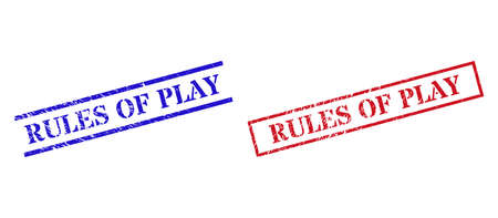 Grunge RULES OF PLAY stamp seals in red and blue colors. Seals have distress style. Vector rubber imitations with RULES OF PLAY caption inside rectangle frame, or parallel lines.