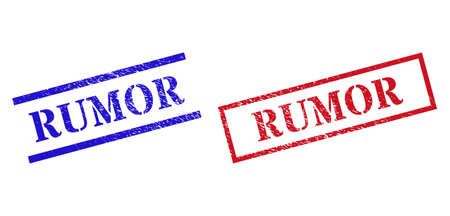 Grunge RUMOR stamp seals in red and blue colors. Seals have rubber style. Vector rubber imitations with RUMOR caption inside rectangle frame, or parallel lines. Design style imitates grunge surface.