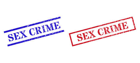 Grunge SEX CRIME stamp seals in red and blue colors. Seals have rubber surface. Vector rubber imitations with SEX CRIME caption inside rectangle frame, or parallel lines.