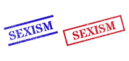 Grunge SEXISM rubber stamps in red and blue colors. Stamps have rubber texture. Vector rubber imitations with SEXISM badge inside rectangle frame, or parallel lines. Design style uses unclean texture.