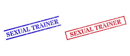 Grunge SEXUAL TRAINER seal stamps in red and blue colors. Seals have distress style. Vector rubber imitations with SEXUAL TRAINER text inside rectangle frame, or parallel lines.