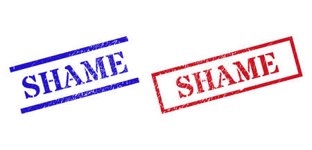 Grunge SHAME rubber stamps in red and blue colors. Seals have rubber style. Vector rubber imitations with SHAME tag inside rectangle frame, or parallel lines. Design style imitates grunge texture.