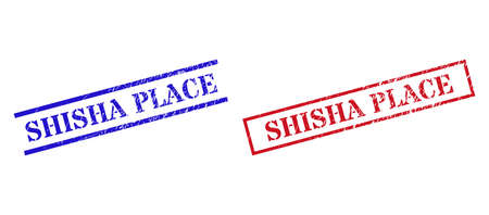 Grunge SHISHA PLACE rubber stamps in red and blue colors. Stamps have rubber surface. Vector rubber imitations with SHISHA PLACE phrase inside rectangle frame, or parallel lines. Illustration