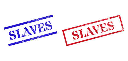 Grunge SLAVES rubber stamps in red and blue colors. Stamps have rubber surface. Vector rubber imitations with SLAVES text inside rectangle frame, or parallel lines.