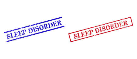 Grunge SLEEP DISORDER seal stamps in red and blue colors. Stamps have distress surface. Vector rubber imitations with SLEEP DISORDER phrase inside rectangle frame, or parallel lines.