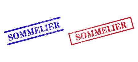 Grunge SOMMELIER rubber stamps in red and blue colors. Stamps have rubber texture. Vector rubber imitations with SOMMELIER phrase inside rectangle frame, or parallel lines.