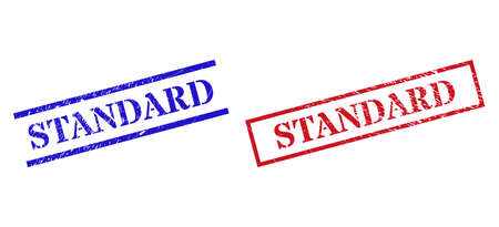 Grunge STANDARD seal stamps in red and blue colors. Stamps have rubber style. Vector rubber imitations with STANDARD badge inside rectangle frame, or parallel lines.