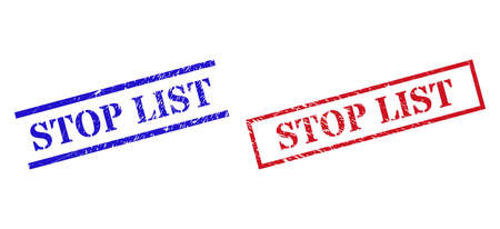 Grunge STOP LIST seal stamps in red and blue colors. Stamps have draft style. Vector rubber imitations with STOP LIST badge inside rectangle frame, or parallel lines. Design style uses grunge texture.