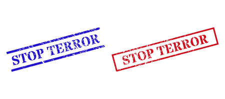 Grunge STOP TERROR rubber stamps in red and blue colors. Stamps have distress surface. Vector rubber imitations with STOP TERROR caption inside rectangle frame, or parallel lines.
