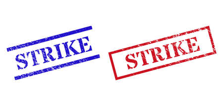Grunge STRIKE rubber stamps in red and blue colors. Stamps have rubber style. Vector rubber imitations with STRIKE caption inside rectangle frame, or parallel lines. Ilustração