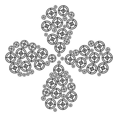 Target rotation flower cluster. Element flower with 4 petals done from oriented target symbols. Vector flower collage in flat style.
