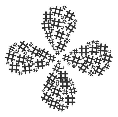 Jail grid curl flower shape. Element cyclone created from oriented jail grid items. Vector flower collage in flat style.