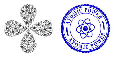 Atom rotation flower with four petals, and blue round ATOMIC POWER rubber print with icon inside. Element cycle organized from oriented atom symbols. Vector flower collage in flat style.