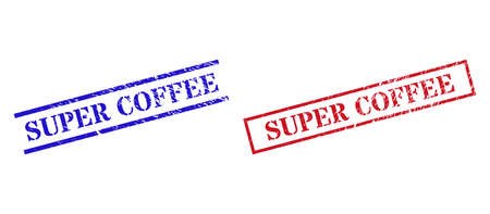 Grunge SUPER COFFEE seal stamps in red and blue colors. Stamps have rubber style. Vector rubber imitations with SUPER COFFEE tag inside rectangle frame, or parallel lines.