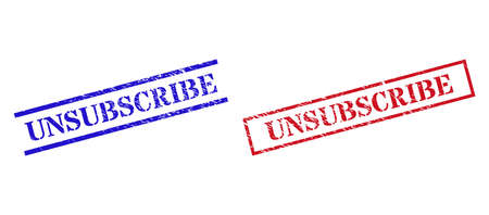 Grunge UNSUBSCRIBE rubber stamps in red and blue colors. Stamps have distress style. Vector rubber imitations with UNSUBSCRIBE text inside rectangle frame, or parallel lines.