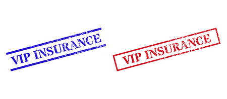 Grunge VIP INSURANCE rubber stamps in red and blue colors. Stamps have draft texture. Vector rubber imitations with VIP INSURANCE badge inside rectangle frame, or parallel lines.