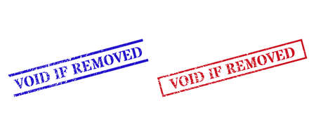 Grunge VOID IF REMOVED rubber stamps in red and blue colors. Stamps have rubber surface. Vector rubber imitations with VOID IF REMOVED phrase inside rectangle frame, or parallel lines.