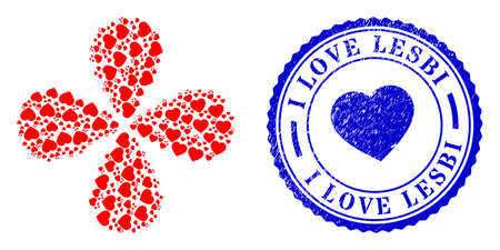 Favorite hearts exploding flower with four petals, and blue round I LOVE LESBI dirty watermark with icon inside. Element flower with 4 petals created from oriented favorite hearts symbols.
