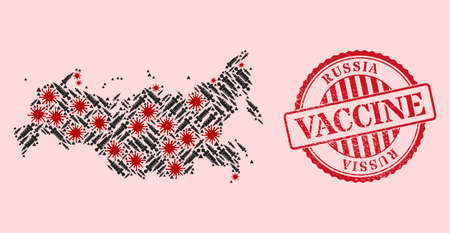 Vector collage Russia map of covid-2019 virus, treatment icons, and red grunge vaccination stamp. Virus elements and treatment particles inside Russia map. 向量圖像