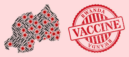Vector mosaic Rwanda map of SARS virus, vaccination icons, and red grunge vaccination seal. Virus cells and syringe particles inside Rwanda map. 向量圖像