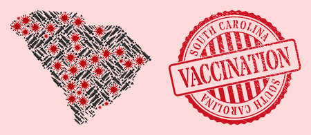 Vector collage South Carolina State map of flu virus, vaccine icons, and red grunge vaccine seal stamp. Virus elements and syringe particles inside South Carolina State map.