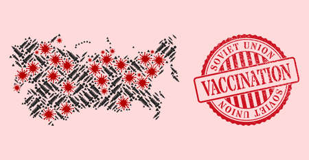 Vector mosaic Soviet Union map of covid-2019 virus, vaccination icons, and red grunge vaccination seal stamp. Virus elements and treatment needles inside Soviet Union map.