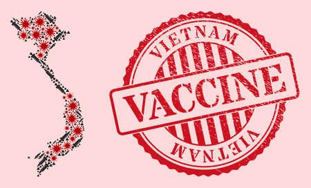Vector mosaic Vietnam map of corona virus, vaccination icons, and red grunge vaccine seal. Virus items and vaccination particles inside Vietnam map. 向量圖像