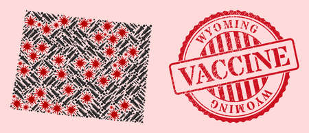 Vector collage Wyoming State map of covid-2019 virus, vaccine icons, and red grunge vaccination stamp. Virus cells and inoculation particles inside Wyoming State map.