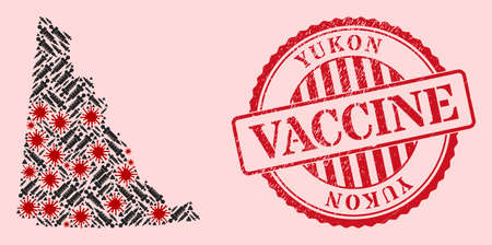 Vector mosaic Yukon Province map of corona virus, vaccination icons, and red grunge vaccination stamp. Virus elements and syringe particles inside Yukon Province map.