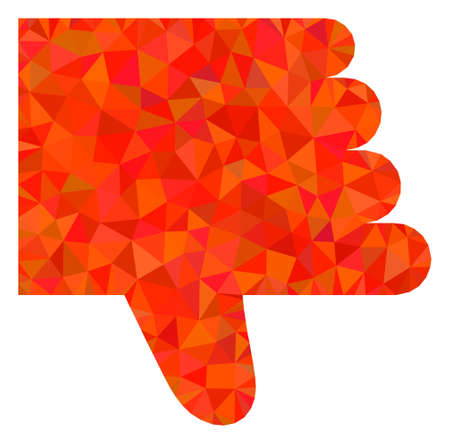 Triangle thumb down polygonal icon illustration. Thumb Down lowpoly icon is filled with triangles. Flat filled abstract mesh image based on thumb down icon.