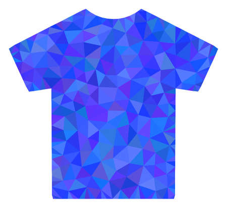Triangle male t-shirt polygonal icon illustration. Male T-Shirt lowpoly icon is filled with triangles. Flat filled geometric mesh image based on male t-shirt icon.