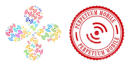 Air cooler rotation colored exploding flower with 4 petals, and red round PERPETUUM MOBILE grunge stamp seal. Air cooler rotation symbol inside round stamp seal. Vector Illustratie