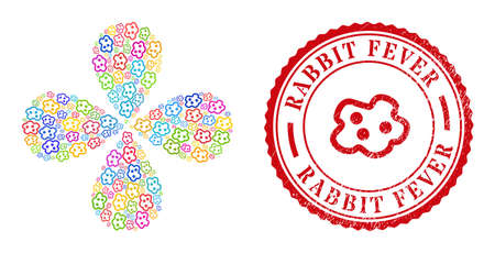 Amoeba multi colored centrifugal flower with 4 petals, and red round RABBIT FEVER rubber badge. Amoeba symbol inside round seal. Object centrifugal explosion done from random amoeba items.