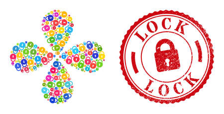 Lock colorful centrifugal abstract flower, and red round LOCK unclean stamp print. Lock symbol inside round stamp print. Object burst created from scattered lock symbols.