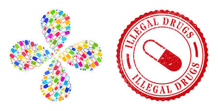 Medical capsule multicolored rotation flower cluster, and red round ILLEGAL DRUGS textured stamp imitation. Medical capsule symbol inside round stamp print.