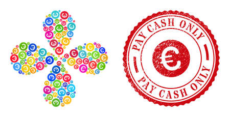 Rounded euro colored curl flower cluster, and red round PAY CASH ONLY scratched stamp print. Rounded euro symbol inside round stamp print. Vektoros illusztráció