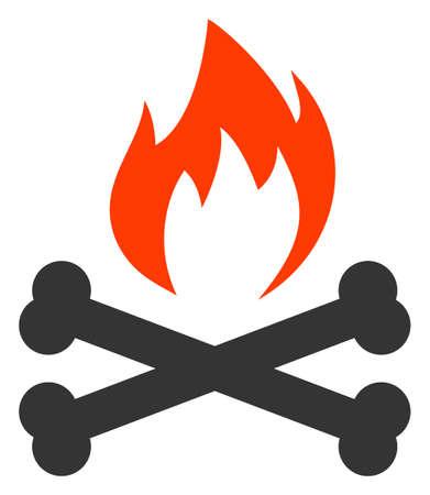Hell fire bones vector illustration. A flat illustration design of hell fire bones icon on a white background.