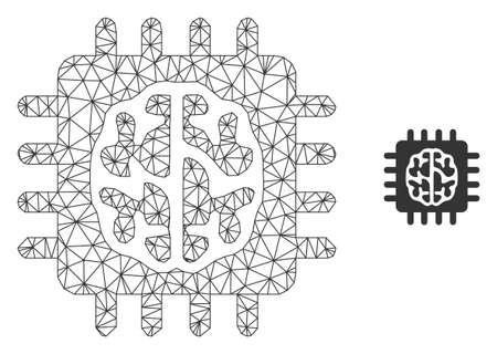 Mesh vector brain chip image with flat icon isolated on a white background. Wire carcass 2D triangular linear mesh for brain chip icon. Lines and points forms brain chip icon.