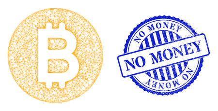Vector net mesh bitcoin gold coin carcass, and No Money blue rosette scratched stamp seal. Linear carcass net illustration created from bitcoin gold coin pictogram,